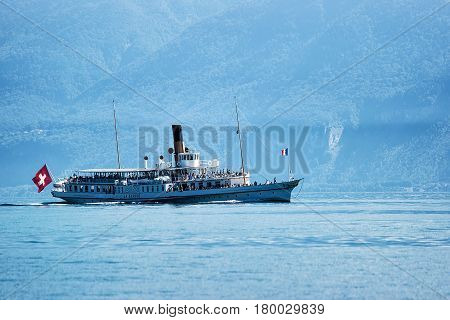 Ferry On Geneva Lake In Lausanne