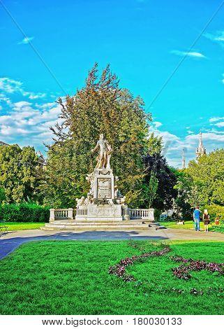 Mozart Statue In Burggarten Park In Vienna