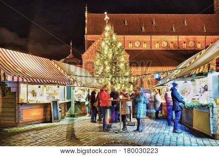 People Enjoy Celebrations At Riga Christmas Market Latvia