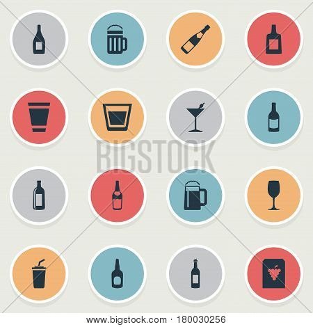 Vector Illustration Set Of Simple Beverage Icons. Elements Glassware, Wine, Martini And Other Synonyms Bottle, Glassware And Coffee.