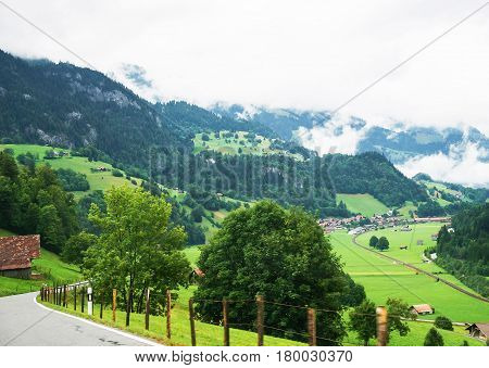 Road At Boltigen At Jaun Pass In Fribourg Of Switzerland