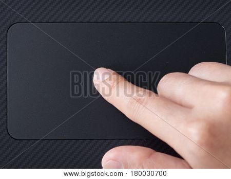 Business Hand Working On A Laptop Touchpad
