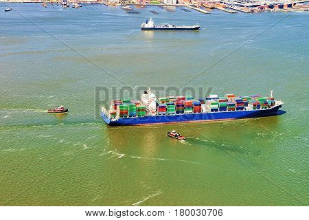 Aerial view of Bayonne Container Vessel NJ USA