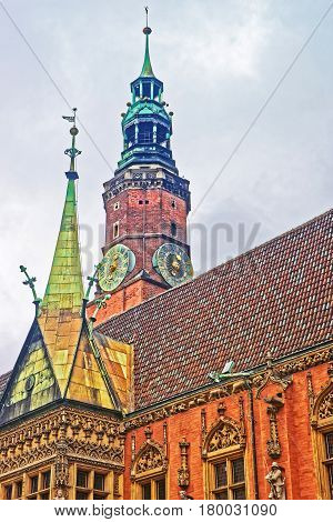 Clock Tower Of Old Town Hall On Market Square Wroclaw