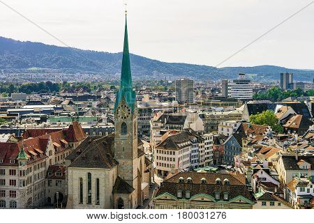 Fraumunster Church And Rooftops Of Old City Center In Zurich