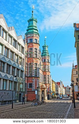 Great Arsenal In Piwna Street In Old City Center Gdansk