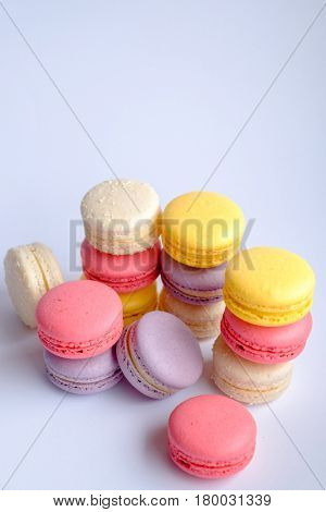 variety of french macarons made of Almond flour isolated on white