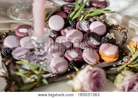 Sweets on a table in interior