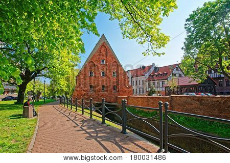 Gdansk Poland - May 8 2014: Little Mill in Gdansk Poland. People on the background