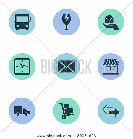 Vector Illustration Set Of Simple Conveyance Icons. Elements Van, Packaging, Opposite Directions And Other Synonyms Baggage, Opposite And Directions.
