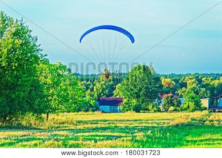 Paraglider Flies With Parachute In Poland