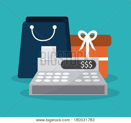 cash register with shopping related icons image vector illustration design