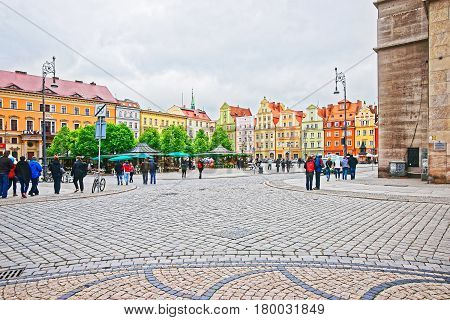People On Market Square In Old City Center In Wroclaw