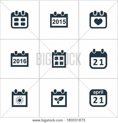 Vector Illustration Set Of Simple Date Icons. Elements Heart, Annual, Plant And Other Synonyms Day, Agenda And Date.