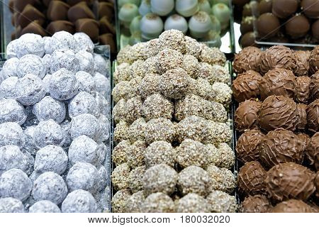 Selection Of Milk And White Swiss Chocolate Truffle