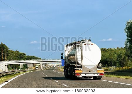 Tanker Storage Truck On Roadway In Poland