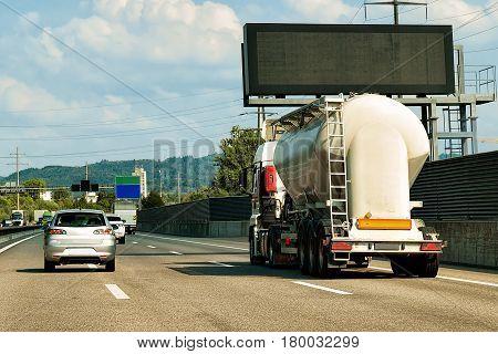Tanker Storage Vessel On Road In Canton Geneva Switzerland
