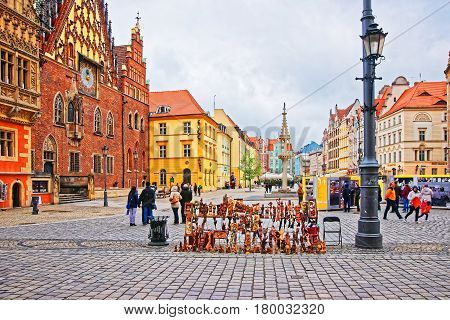 Tourists At Old Town Hall Market Square Of Wroclaw