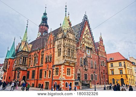 Tourists At Old Town Hall On Market Square Of Wroclaw