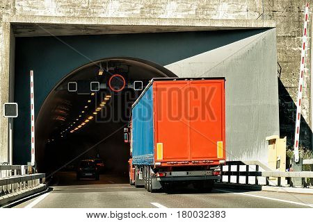 Truck On Road Tunnel In Valais Canton Switzerland