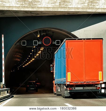 Truck On Road Tunnel In Valais Canton In Switzerland