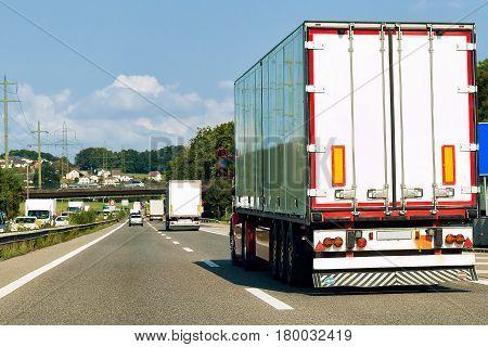 Trucks On Road At Canton Geneva Of Switzerland