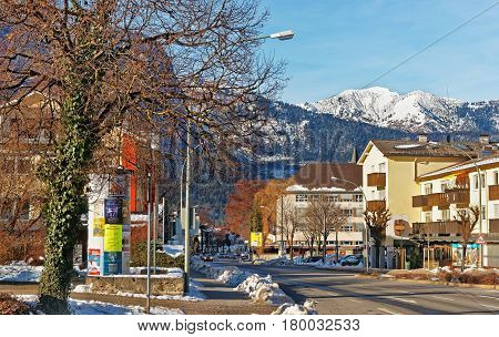 Alps And Street In Bavarian Style Winter Garmisch Partenkirchen