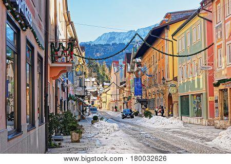 Chalets In Bavarian Style Decorated For Christmas At Garmisch Partenkirchen
