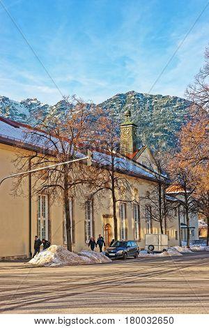 Clock Tower And Alps In Garmisch Partenkirchen Old Town