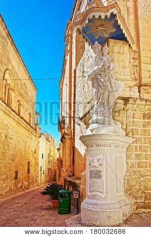 Figure Of Saint At Corner Of Street In Mdina