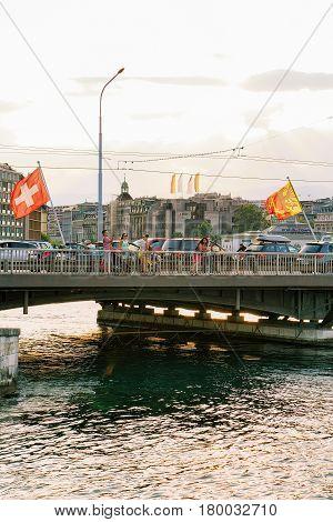 Geneva Lake And Mont Blanc Bridge Swiss Flags Switzerland