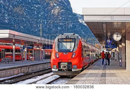 Passengers At High Speed Train At Garmisch Partenkirchen
