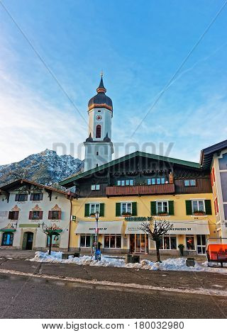 Steeple Of St Martin Church Garmisch Partenkirchen