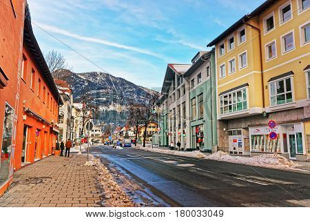 Street With Houses And Alpine Mountains Winter Garmisch Partenkirchen