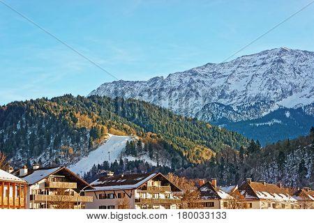 Alpine Mountains And Chalets In Winter Garmisch Partenkirchen
