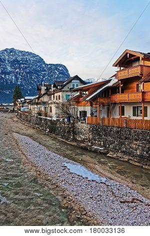 Alps Partnach River And Wooden Chalet Garmisch Partenkirchen