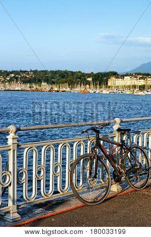 Bicycle At Promenade Of Quai Fleuri On Geneva Lake Switzerland
