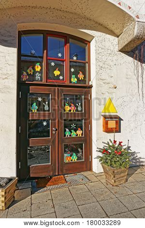 Doorway In Bavarian Style Decorated For Christmas In Garmisch Partenkirchen