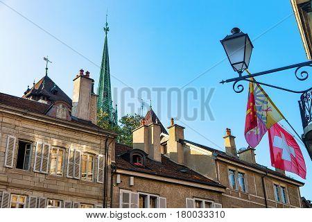 Flags On Place Du Bourg De Four In Geneva