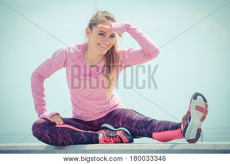 Girl In Sporty Clothes Exercising And Looking Into Distance By The Sea, Healthy Active Lifestyle