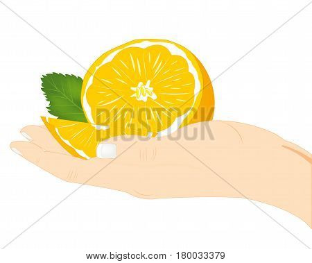 Ripe and juicy fruit tangerine in hand of the person