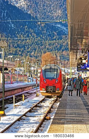 Passengers And High Speed Train In Garmisch Partenkirchen