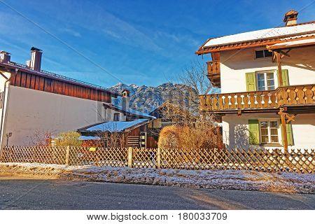 Street And Alps In Winter Garmisch Partenkirchen