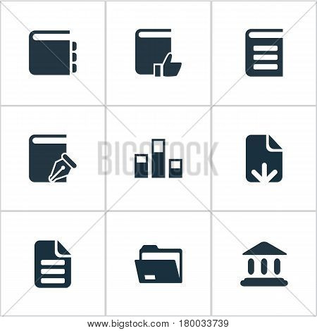 Vector Illustration Set Of Simple Books Icons. Elements File Loading, Archive, Favored Book And Other Synonyms Archive, Recommended And Encyclopedia.
