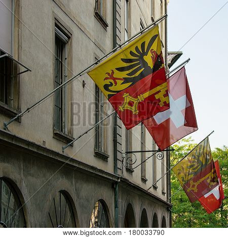 Street With Flags On Hotel Ville Geneva