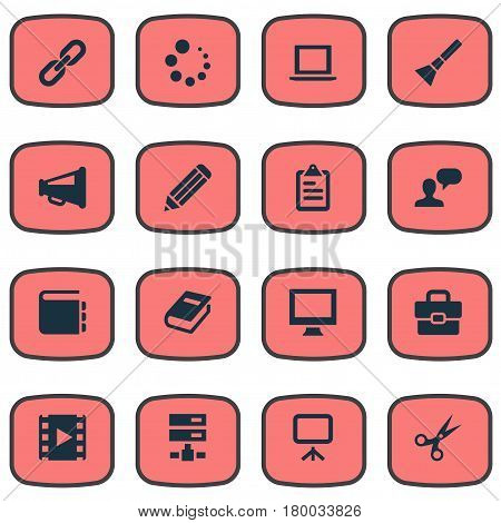 Vector Illustration Set Of Simple Icons Icons. Elements Laptop, List, Blueprint And Other Synonyms Slideshow, Tool And Hyperlink.