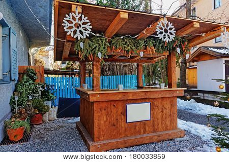 Wooden Market Stall In Decorated For Christmas Garmisch Partenkirchen