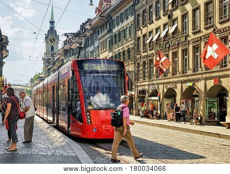 People And Spitalgasse Street In Bern