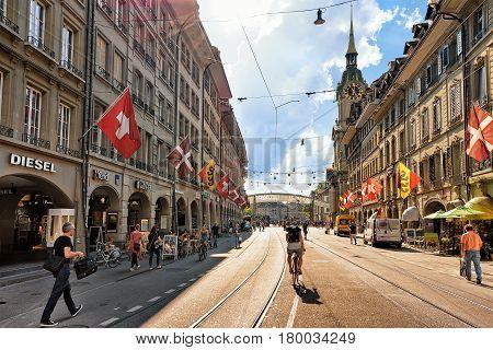 People On Spitalgasse Street In Bern