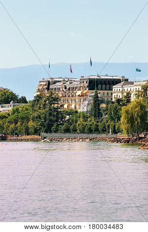 Beau Rivage Palace Hotel In Lake Geneva Promenade Of Lausanne